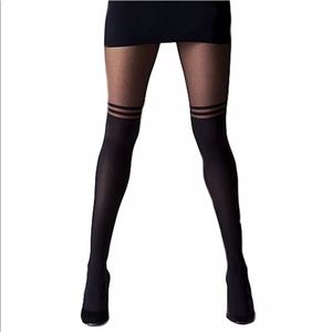Black Sheer Pantyhose Striped Tights Knee Highs